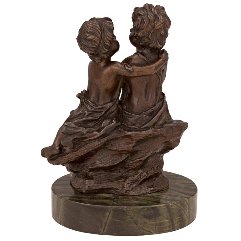 French 19th Century Louis XVI St. Patinated Bronze and Marble Statue In Good Condition For Sale In West Palm Beach, FL
