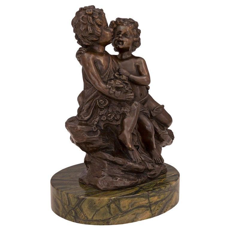 French 19th Century Louis XVI St. Patinated Bronze and Marble Statue For Sale 1