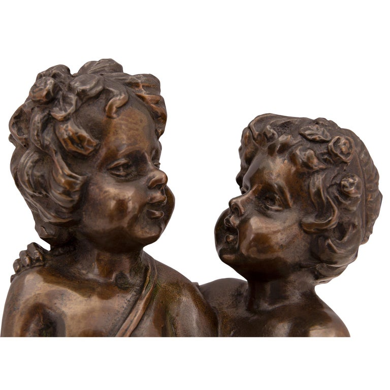 French 19th Century Louis XVI St. Patinated Bronze and Marble Statue For Sale 2