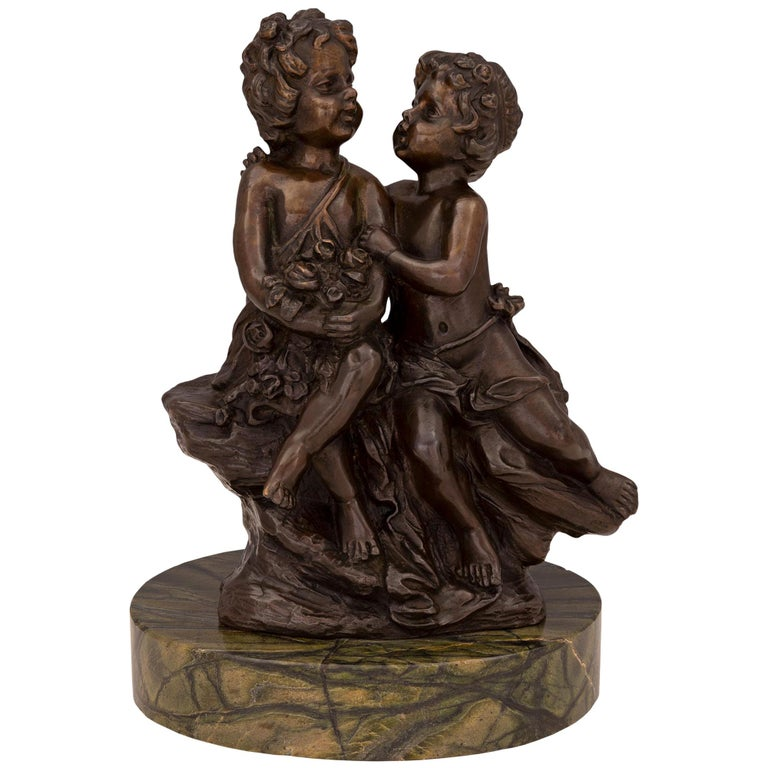 French 19th Century Louis XVI St. Patinated Bronze and Marble Statue For Sale
