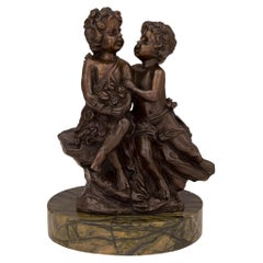 French 19th Century Louis XVI St. Patinated Bronze and Marble Statue