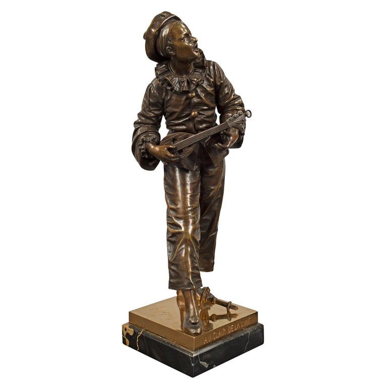 A charming and high quality French 19th century Louis XVI style patinated bronze and ormolu statue titled: