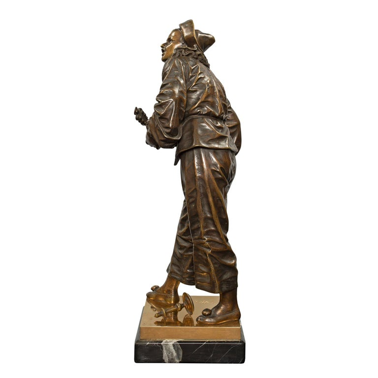 French 19th Century Louis XVI Style Patinated Bronze and Ormolu Statue For Sale 1