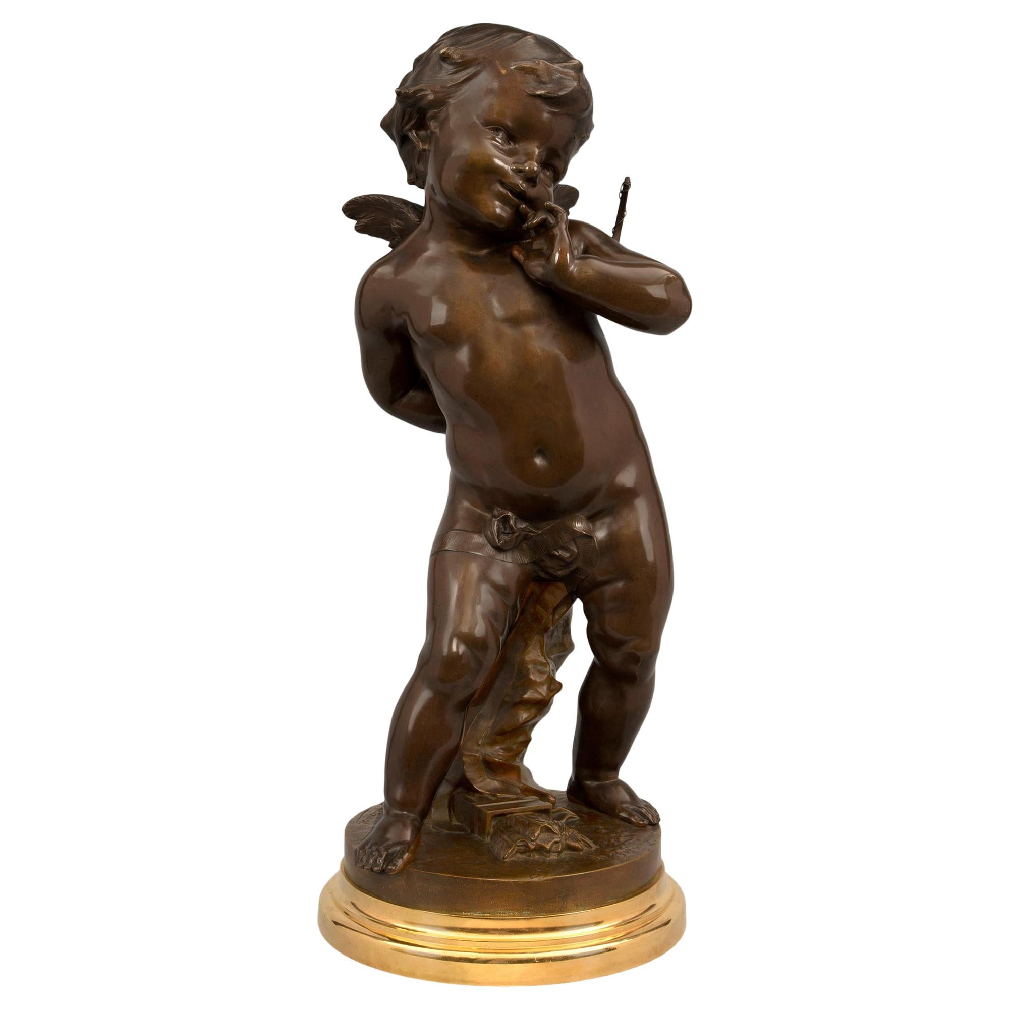 French 19th Century Louis XVI Style Patinated Bronze and Ormolu Statue