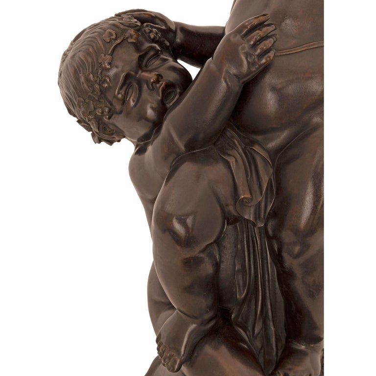 French 19th Century Louis XVI Style Patinated Bronze, Ormolu and Marble Statue For Sale 3