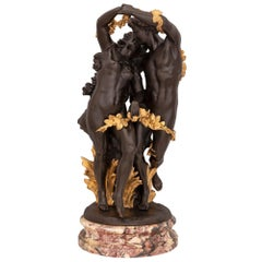 French 19th Century Louis XVI St. Patinated Bronze, Ormolu, and Marble Statue