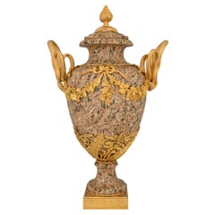 French 19th Century Louis XVI St. Pink Granite and Ormolu Lidded Urn