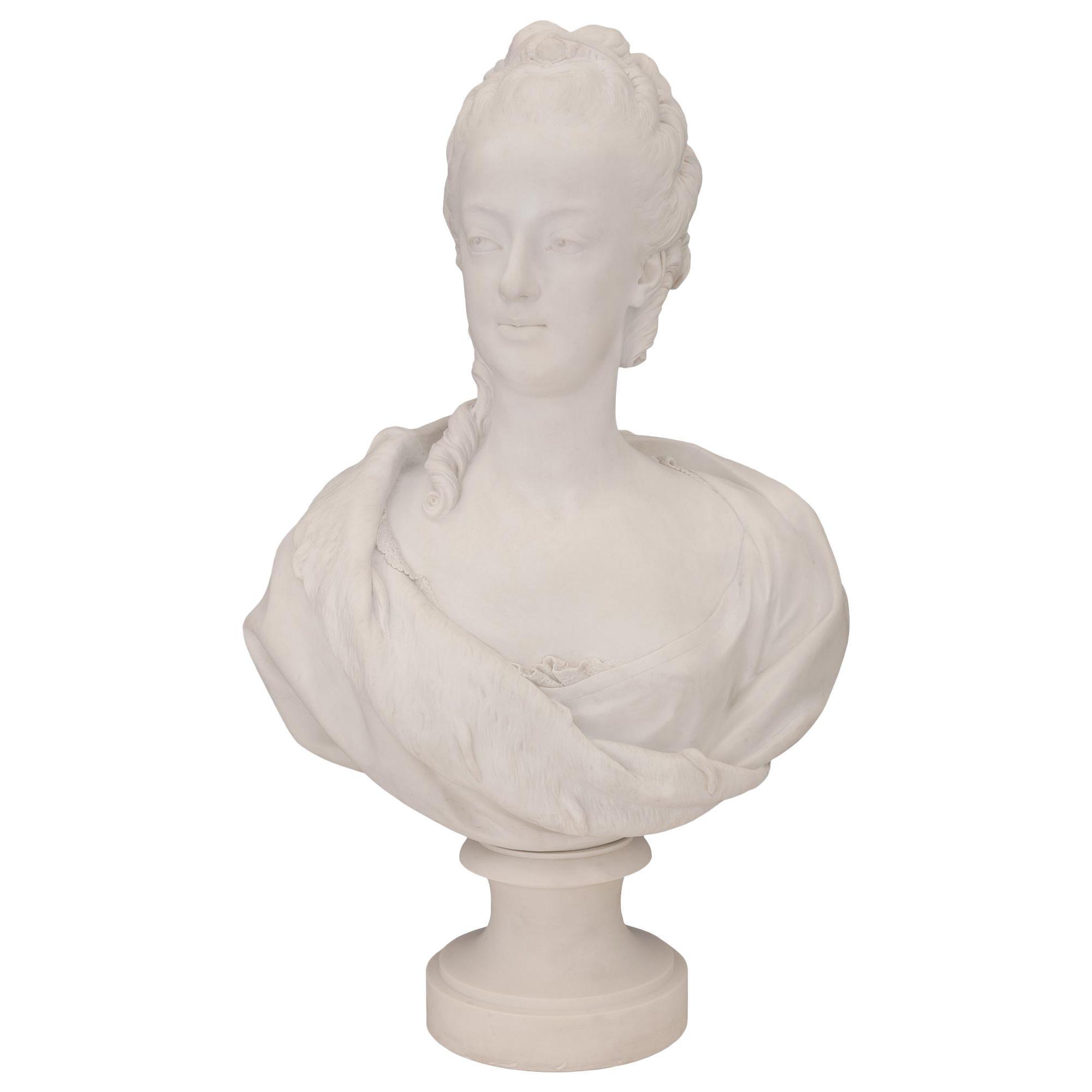 French 19th Century Louis XVI St. Porcelain Bust of Marie Antoinette