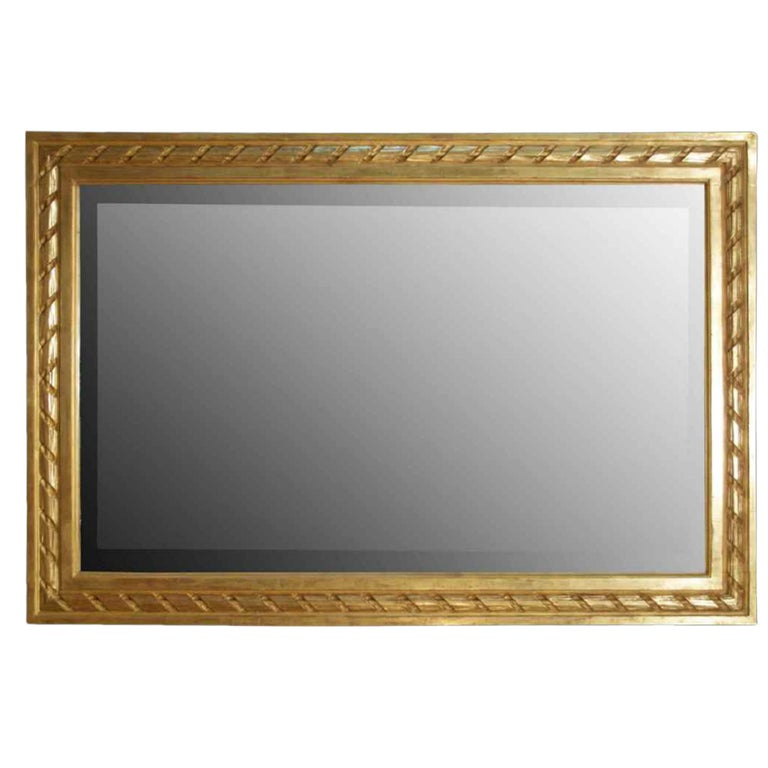 French 19th Century Louis XVI St. Rectangular Shaped Giltwood Mirror For Sale 2