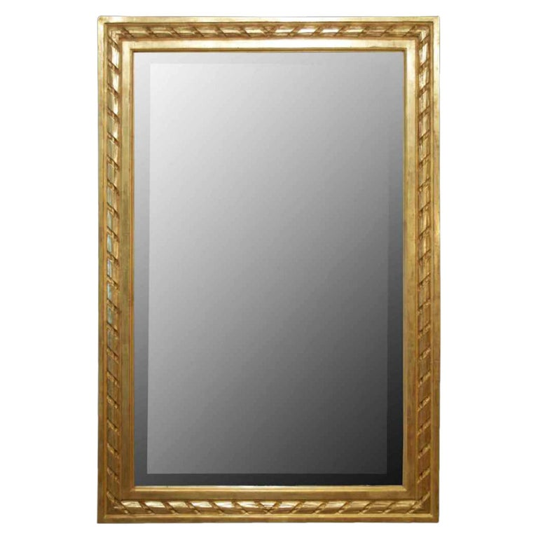 French 19th Century Louis XVI St. Rectangular Shaped Giltwood Mirror For Sale