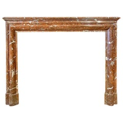 French 19th Century Louis XVI Style 'Rosso Merling' Marble Mantle