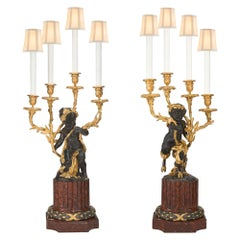 French 19th Century Louis XVI St. Rouge Griotte Marble, Bronze, and Ormolu Lamps