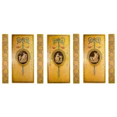 French 19th Century Louis XVI Style Set of Three Large Painted Panels