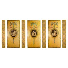 French 19th Century Louis XVI St. Set of Three Large Painted Panels