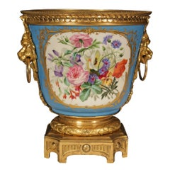 French 19th Century Louis XVI St. Sèvres Porcelain and Ormolu Cache Pot