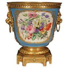 French 19th Century Louis XVI St. Sèvres Porcelain and Ormolu Cache Pot