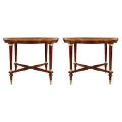 French 19th Century Louis XVI St. Solid Mahogany and Ormolu Center Table