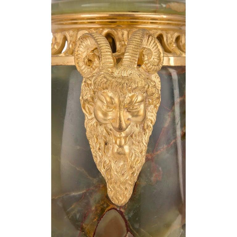 French 19th Century Louis XVI Style Three-Piece Onyx and Ormolu Garniture Set For Sale 2
