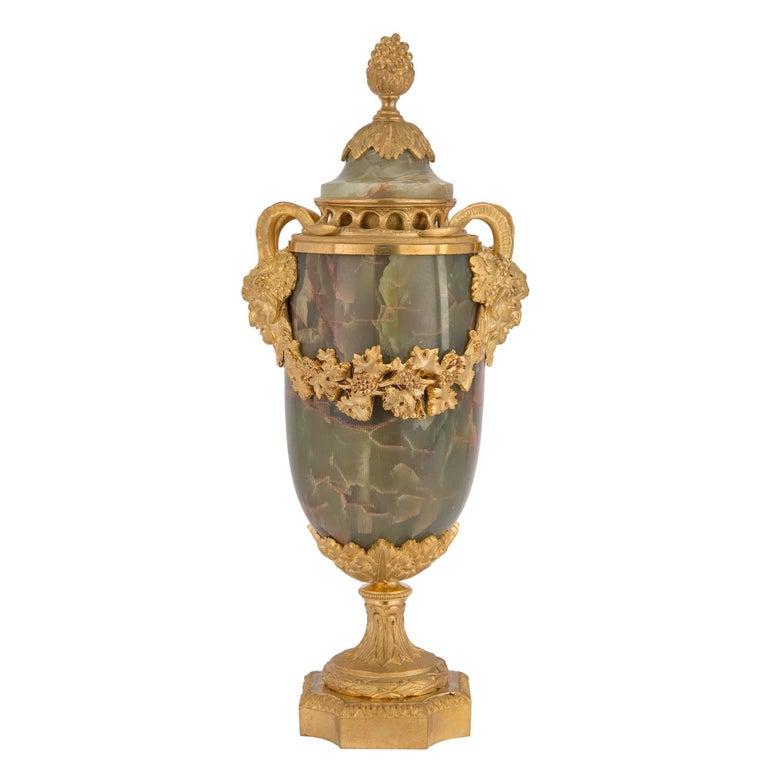 French 19th Century Louis XVI Style Three-Piece Onyx and Ormolu Garniture Set For Sale 3