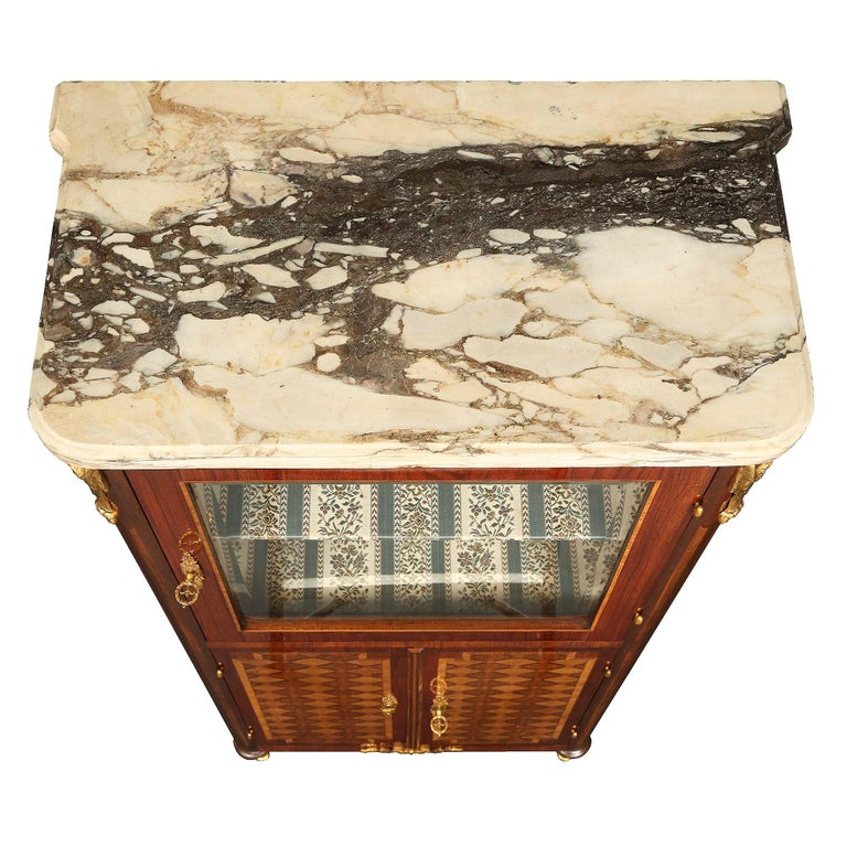 Marble French 19th Century Louis XVI Style Tulipwood and Kingwood Inlaid Vitrine For Sale