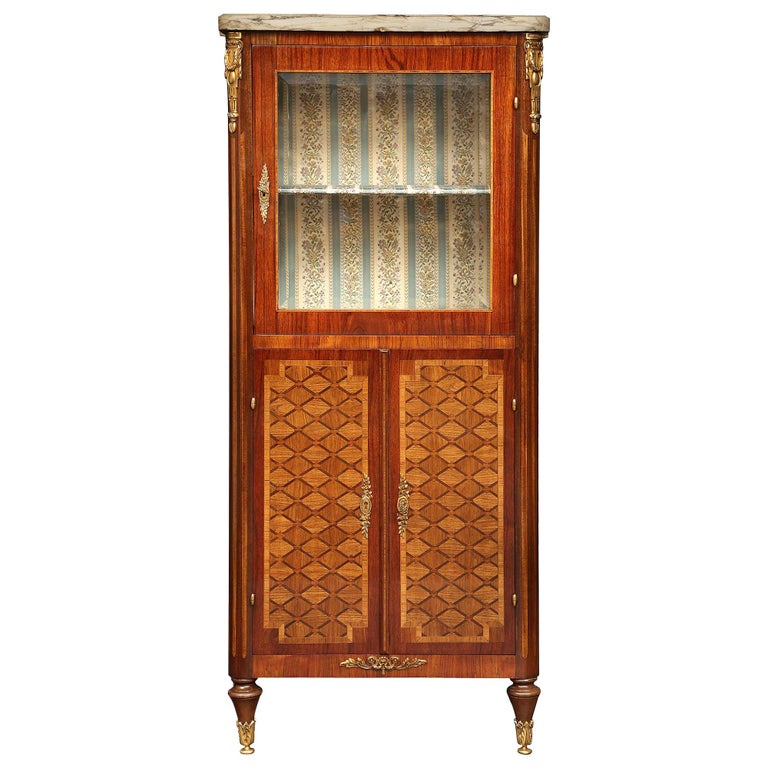 French 19th Century Louis XVI Style Tulipwood and Kingwood Inlaid Vitrine For Sale