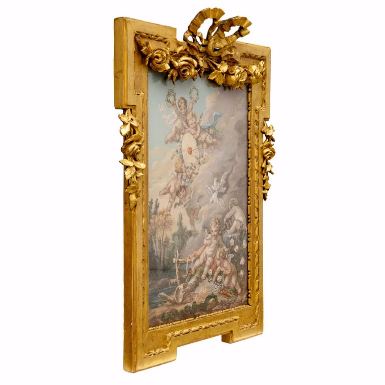 A charming and high quality French 19th century Louis XVI style watercolor painting, in the manner of Francois Boucher. The beautiful hand painted watercolor depicts Boucher's painting titled La Cible D'Amour (Love Target). Wonderfully detailed