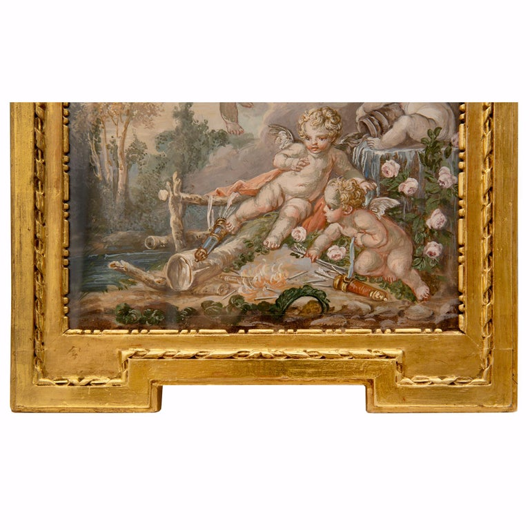 French 19th Century Louis XVI St. Watercolor Painting, in the Manner of Francois For Sale 4
