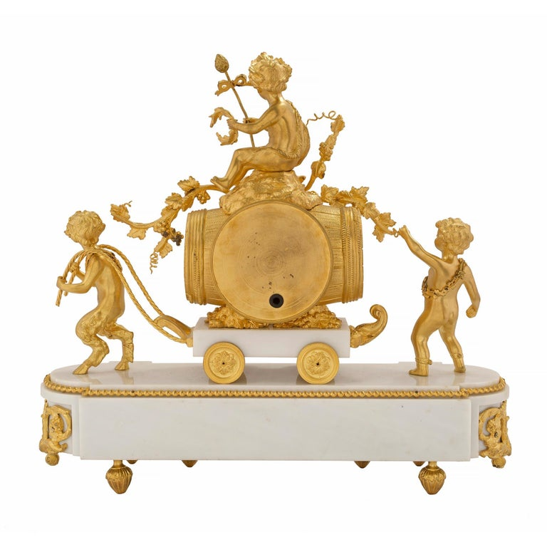 French 19th Century Louis XVI Style White Carrara Marble and Ormolu Clock In Good Condition For Sale In West Palm Beach, FL