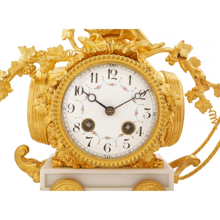 French 19th Century Louis XVI Style White Carrara Marble and Ormolu Clock For Sale 2