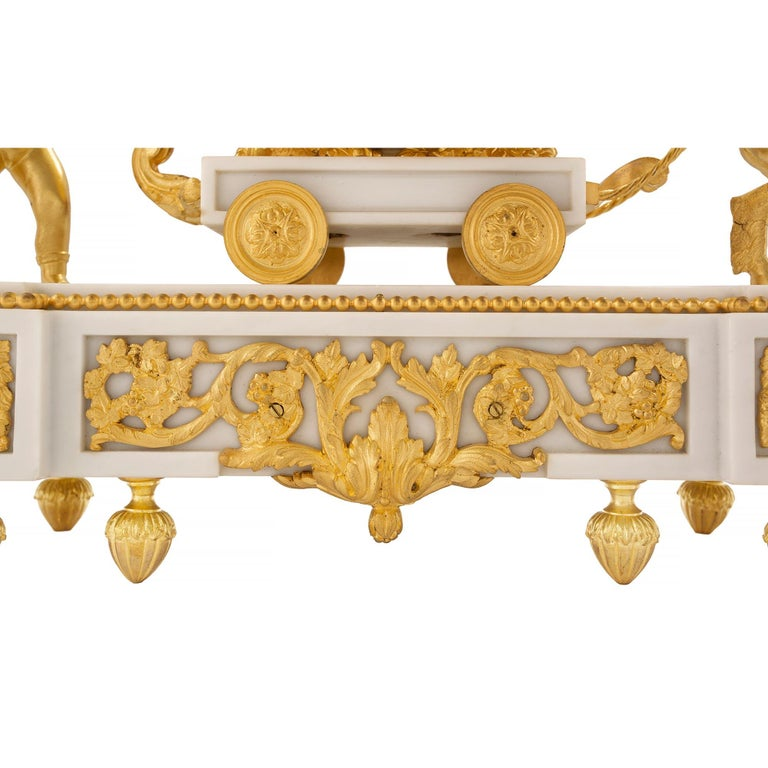 French 19th Century Louis XVI Style White Carrara Marble and Ormolu Clock For Sale 3