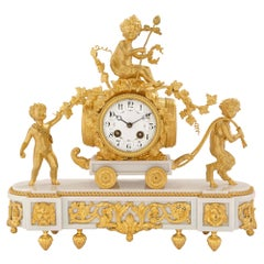 French 19th Century Louis XVI St. White Carrara Marble And Ormolu Clock