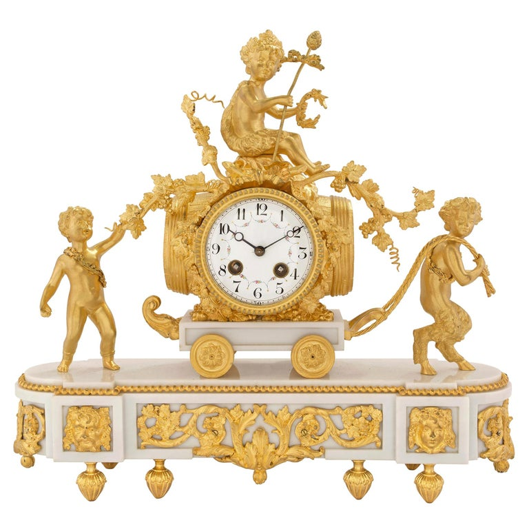 French 19th Century Louis XVI St. White Carrara Marble And Ormolu Clock For Sale