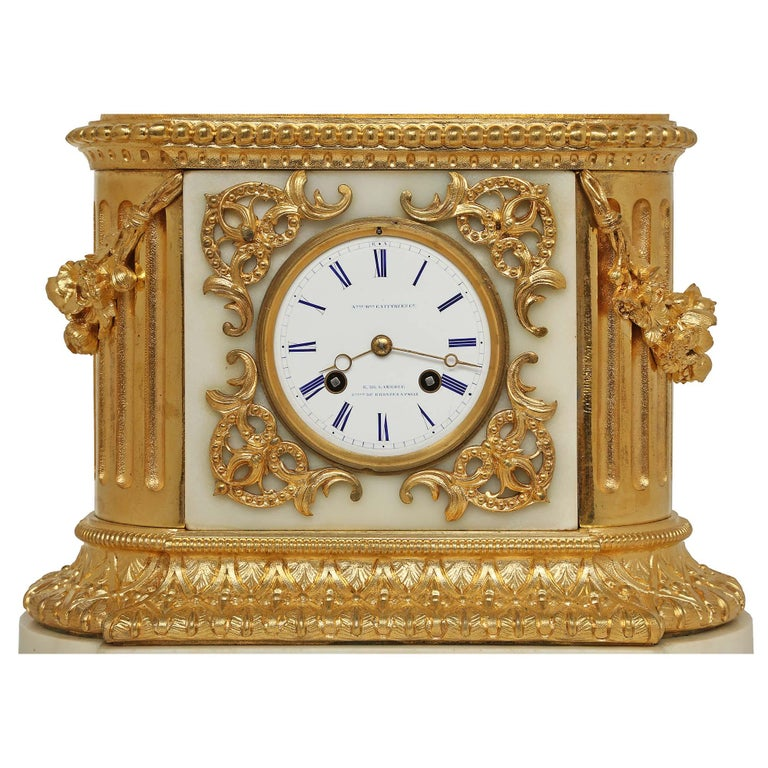 French 19th Century Louis XVI Style White Carrara Marble and Ormolu Signed Clock For Sale 2
