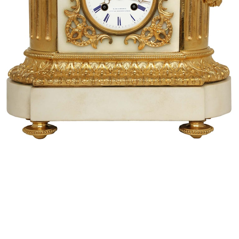 French 19th Century Louis XVI Style White Carrara Marble and Ormolu Signed Clock For Sale 4