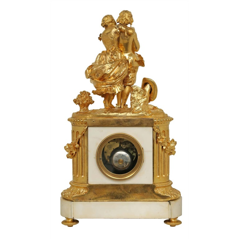 French 19th Century Louis XVI Style White Carrara Marble and Ormolu Signed Clock For Sale 5