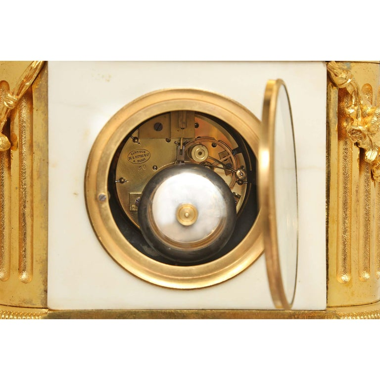 French 19th Century Louis XVI Style White Carrara Marble and Ormolu Signed Clock For Sale 6