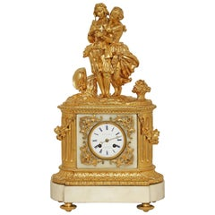 French 19th Century Louis XVI Style White Carrara Marble and Ormolu Signed Clock