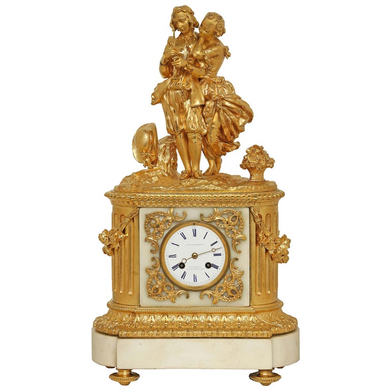 French 19th Century Louis XVI Style White Carrara Marble and Ormolu Signed Clock For Sale