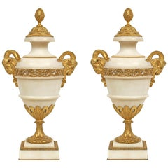 French 19th Century Louis XVI Style White Carrara Marble and Ormolu Urns