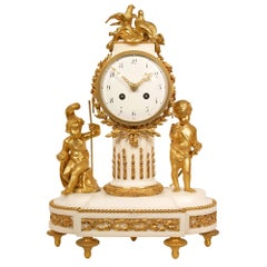 French 19th Century Louis XVI St. White Carrara Marble Clock