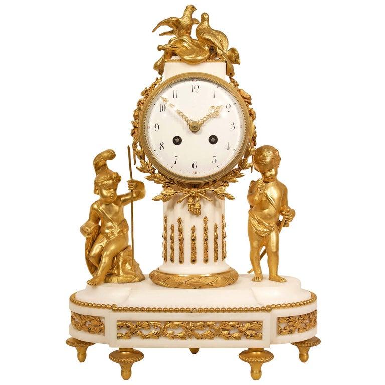 19th Century Louis XVI Style White Carrara Marble Clock with Ormolu Mounts For Sale