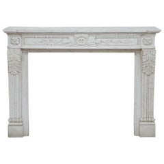 French 19th Century Louis XVI Style White Carrara Marble Mantel