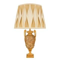 French 19th Century Louis XVI Style Alabastro Fiorito and Ormolu Lamp