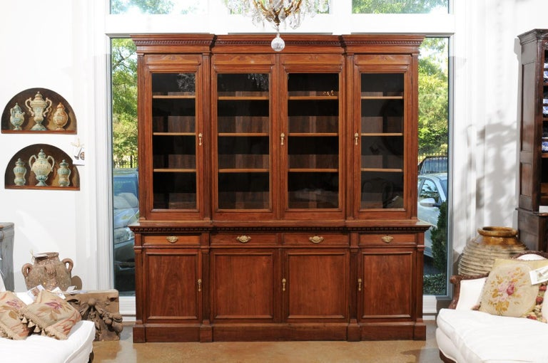 French 19th Century Louis XVI Style Blond Mahogany Bibliothèque with Glass Doors In Good Condition For Sale In Atlanta, GA