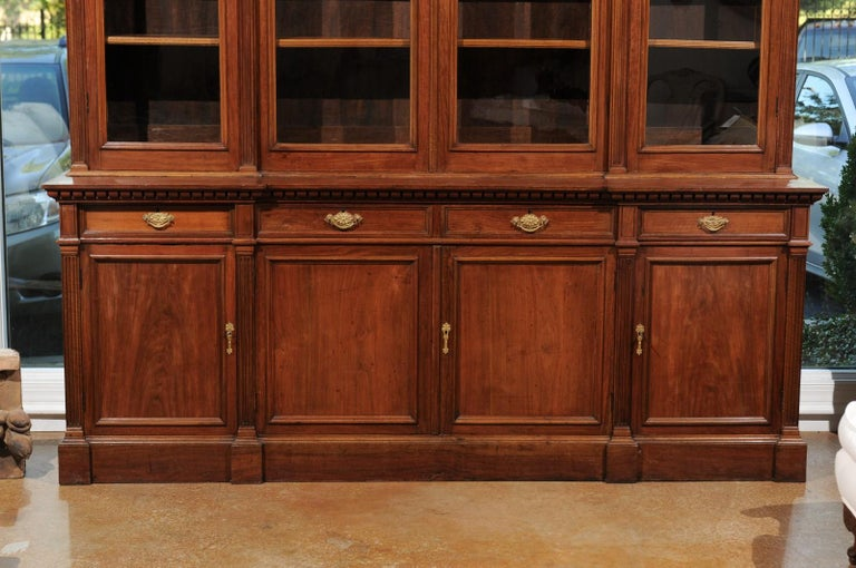 French 19th Century Louis XVI Style Blond Mahogany Bibliothèque with Glass Doors For Sale 1