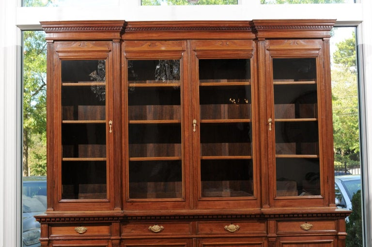 French 19th Century Louis XVI Style Blond Mahogany Bibliothèque with Glass Doors For Sale 2