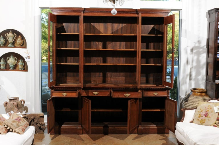 French 19th Century Louis XVI Style Blond Mahogany Bibliothèque with Glass Doors For Sale 5