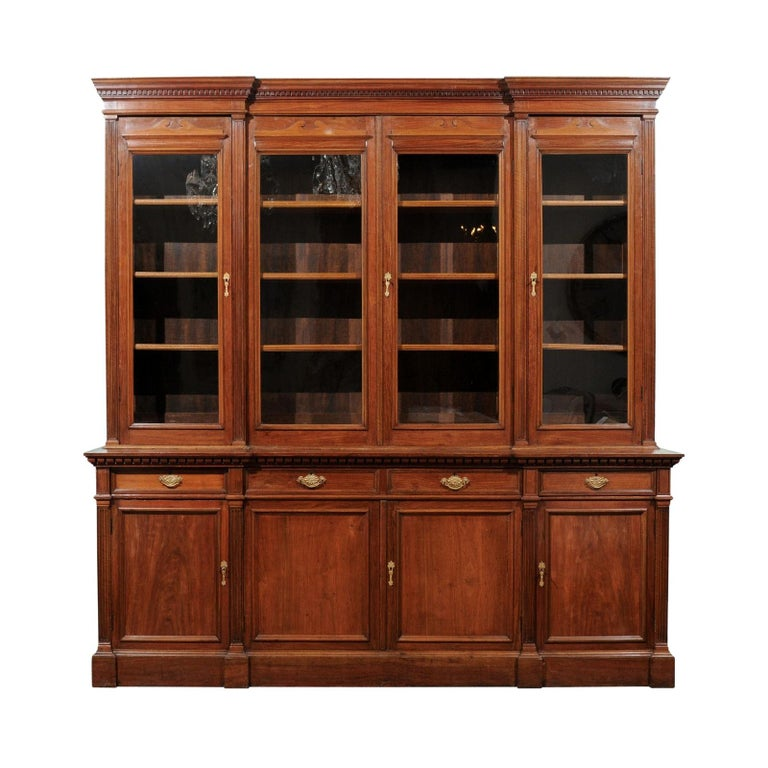 French 19th Century Louis XVI Style Blond Mahogany Bibliothèque with Glass Doors For Sale