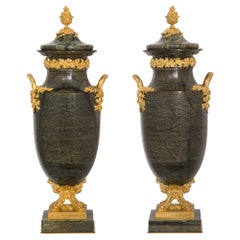 French 19th Century Louis XVI Style Breche Verte d'Egypte and Ormolu Urns