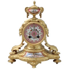 French 19th Century Louis XVI Style Bronze Gilt and Porcelain Mantel Clock